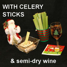 Load image into Gallery viewer, Buffalo Garlic Blue Cheese Dip with celery stalk dippers and wine Christmas
