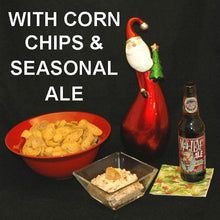 Load image into Gallery viewer, Buffalo Garlic Blue Cheese Dip with chips and Mad Elf ale Christmas