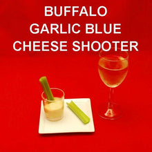 Load image into Gallery viewer, Buffalo Garlic Blue Cheese and Celery Shooters with whte wine
