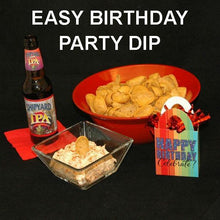 Load image into Gallery viewer, Easy birthday party appetizer, Buffalo Garlic Blue Cheese Dip with corn chips served with ale