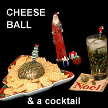 Load image into Gallery viewer, Buffalo Garlic Blue Cheese Ball with crackers and bourbon cocktail Christmas