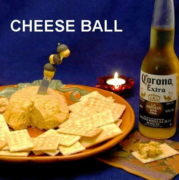 Caliente Cheddar Cheese Ball with crackers & Mexican beer Fall