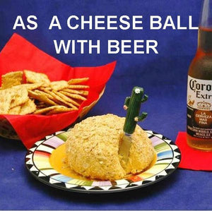Caliente Cheddar Cheese Ball with crackers & Mexican beer