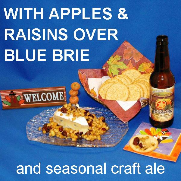 Caramel Apple Habanero Salsa over blue brie cheese with seasonal ale Thanksgiving appetizer