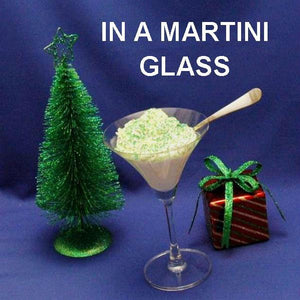Caramel Pecan Mousse garnished with sugar sprinkles garnish in martini glass Christmas