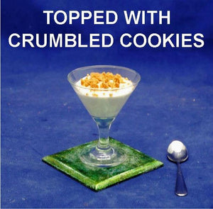 Caramel Pecan Mousse garnished with cookie crumbs in martini glass