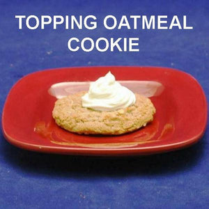 Caramel Pecan Mousse toped oatmeal raisin cookie F