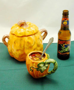 Caribbean Black Bean and Ham Soup served with pumpkin ale