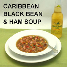 Load image into Gallery viewer, Caribbean Black Bean and Ham Soup with ale on the dinner table