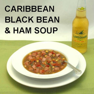 Caribbean Black Bean and Ham Soup with ale on the dinner table
