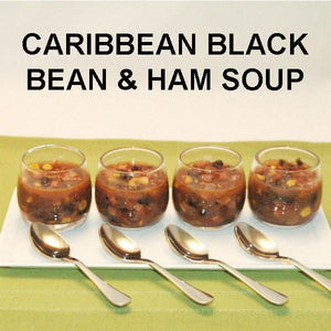 Caribbean Black Bean and Ham Soup in tasting bowls