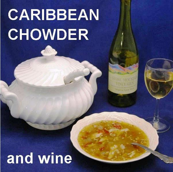 Spicy Caribbean Style Chowder with tomatoes, crumbled bacon and chicken served with white wine