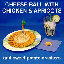 Load image into Gallery viewer, Casablanca Chicken and Apricot Cheese Ball, served with sweet potato Triscuits and a rum cocktail Summer