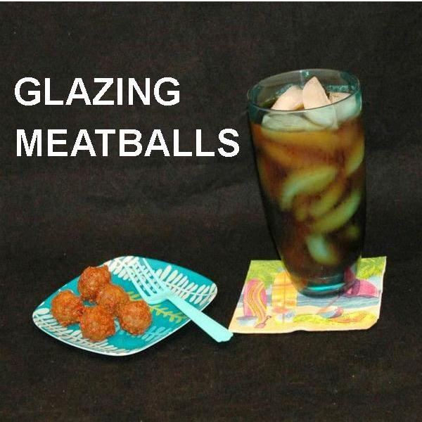Casablanca Spicy Ketchup Glazed Meatballs with a rum drink Summer