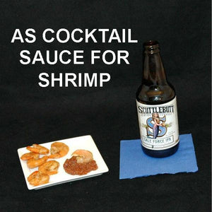 Steamed Shrimp with Casablanca Spiced Ketchup Cocktail Sauce served with ale