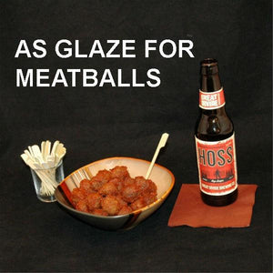 Casablanca Spiced Ketchup Glazed Meatballs served with ale