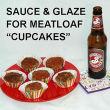 Load image into Gallery viewer, Casablanca Spicy Ketchup Glazed Meatloaf Cupcakes served with ale