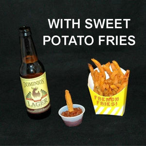 Sweet potatoes with Casablanca Spicy Ketchup Cocktail Sauce and craft ale