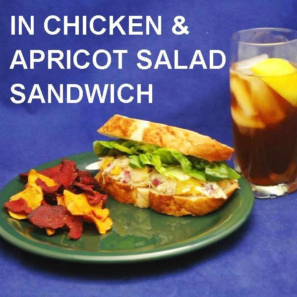 Sweet Ginge Chicken and Apricot Salad Sandwich on French bread, served with chips and ice tea