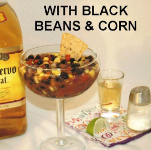 Chipotle Black Bean and Corn Salsa served with tequila