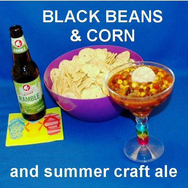 Chipotle Black Bean and Corn Salsa served with white tortilla chips and Summer ale
