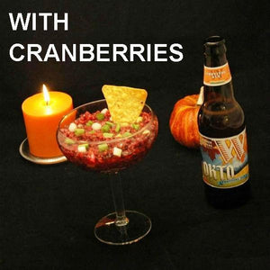 Cranberry Orange Chipotle Salsa served with fall ale