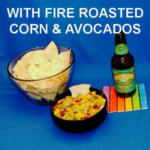 Chipotle Fire Roasted Corn & Avocado Salsa served with craft ale