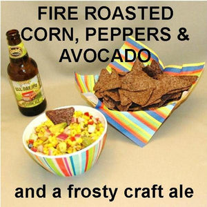 Chipotle Fire Roasted Corn & Avocado Salsa served with craft ale Summer