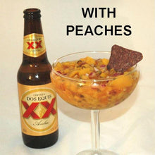 Load image into Gallery viewer, Chiotle Peach Salsa served with blue corn tortilla chips and Mexican beer