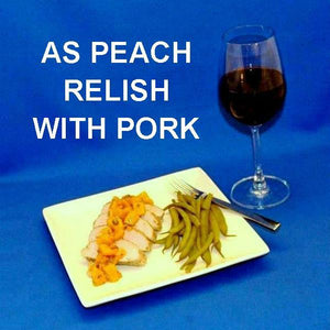 Roast Pork Loin with Chipotle Peach Salsa Relish, served with red wine