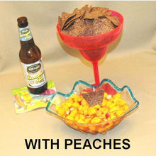 Load image into Gallery viewer, Chiotle Peach Salsa served with blue corn tortilla chips and summer ale