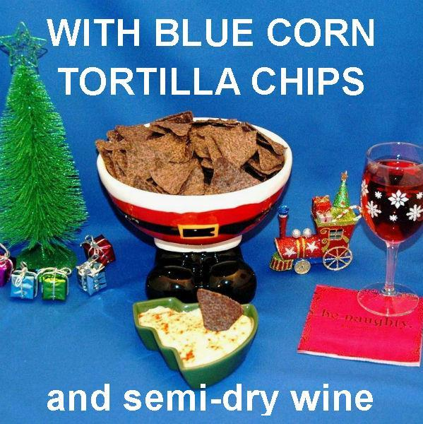 Chipotle Ranch Chip Dip with blue corn tortilla chips and semi-dry  blush wine  Christmas