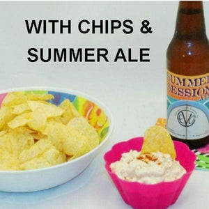 Chipotle Ranch Chip Dip with potato chips and seasonal summer ale