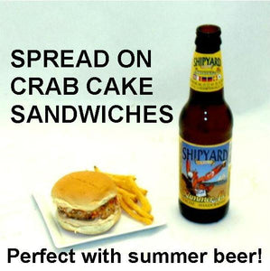 Chipotle Ranch spread on Crab Cake Slider with summer ale