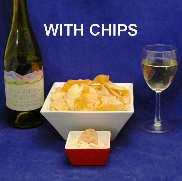 Chipotle Ranch Chip Dip with potato chips, served with white wine