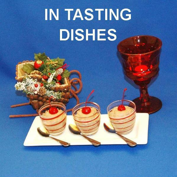 Chocolate Covered Cherries Mousse garnished with Maraschino cherries in tasting glasses Christmas