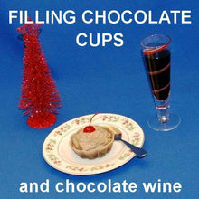 Load image into Gallery viewer, Chocolate Covered Cherries Mousse in chocolate cup with chocolate wine Christmas