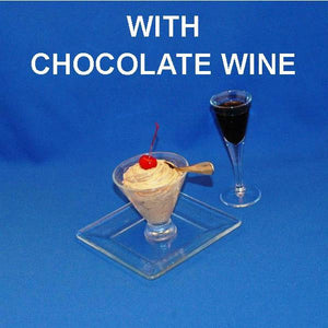 Chocolate Covered Cherries Mousse in mini-marti glass with chocolate wine