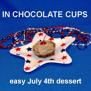 Chocolate Covered Cherries Mousse garnished with Maraschino cherries in chocolate cups July 4th