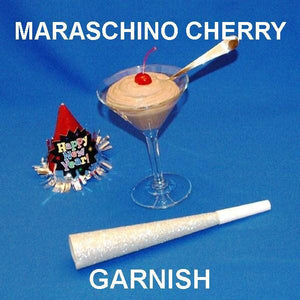 Chocolate Covered Cherries Mousse garnished with Maraschino cherry in martini glass New Year's