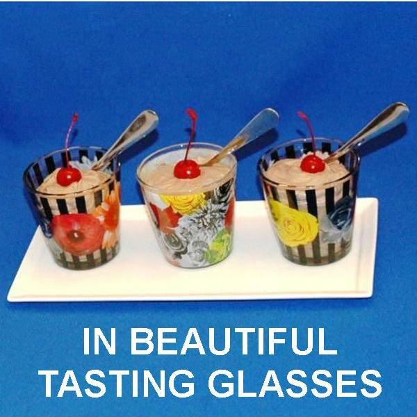 Chocolate Covered Cherries Mousse garnished with Maraschino cherries in tasting glasses Summer