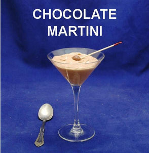Chocolate Hazelnut Mousse Martini, garnished with chocolate ball on a toothpick