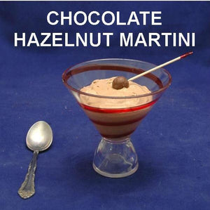 Chocolate Hazelnut Mousse Martini, garnished with chocolate ball on a toothpick Summer