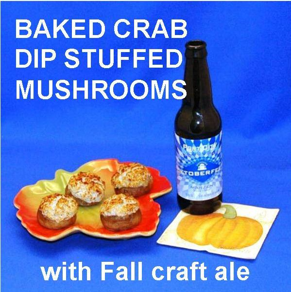 Baked Mushrooms Stuffed with Crab Cake Dip served with craft ale