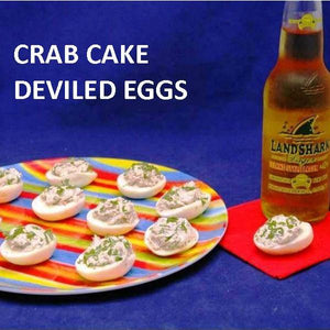 Crab Cake Dip Filled Deviled Eggs, served with craft ale Summer