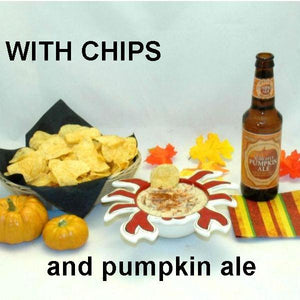 Crab Cake Dip with chips and pumpkin ale