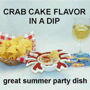 Crab Cake Dip with chips and white wine Summer