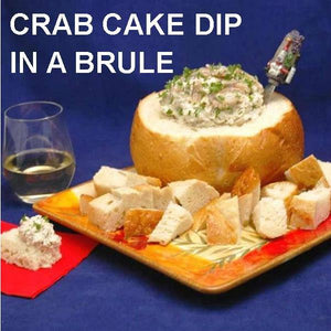 Cold Crab Cake Dip in Boule served with white wine