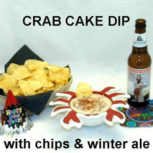 Crab Cake Dip with chips and winter ale New Year's