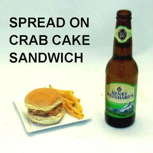 Chipotle Ranch spread on Crab Cake Slider with craft ale